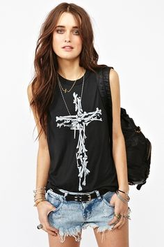 Cross Bones Muscle Tee  This would look killer for any of the upcoming outdoor music festivals.