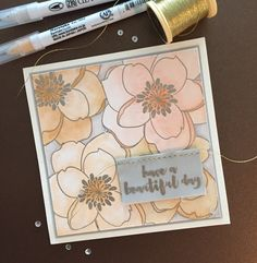 Essentials by Ellen October 2016 Pin Sights challenge card.  I was inspired by the soft colored pumpkins crowded together in the pumpkin patch.  Mondo Magnolia stamp and sentiment, colored with Zig Clean Color Real Brush markers.