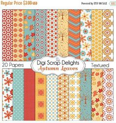 50% OFF TODAY Autumn Leaves Digital Papers DOUBLE Pack for Digital Scrapbooking, Fall Card Making,Orange, Blue Gold Linen Textured, Chevron  #Scrapbooking #Autumn #Fall #Scrapbookingkits #DigiScrapDelights #Thanksgiving