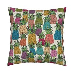West Coast pineapples Square Pillow by scrummy   Roostery Home Decor #pineapple…