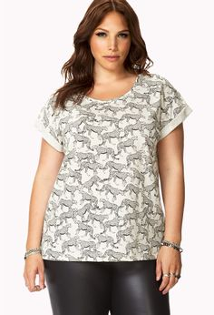 Cheetah Parade Linen-Blend Top | FOREVER21 PLUS