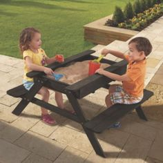 Kids Garden Table: One Step Ahead Exclusive! Remove the lid of this sturdy hardwood table, and there's room to plant a garden inside. Outdoor Toys, Outdoor Play, Kids Picnic Table, Play Table, Best Auntie Ever, Sand Play, Kids Sand, Sand Table, Garden Table