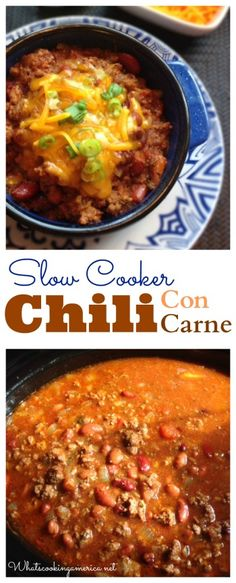 Slow Cooker Chili Con Carne Recipe    whatscookingamerica.net    #chili #concarne #slowcooker #beef