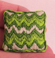 Needlepoint pillow cushion 4 color OOAK by AuntElliesMiniatures