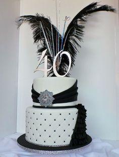 Black, white and silver elegant 40th birthday cake