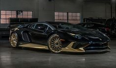 Black Hills Gold Vintage Lamborghini Beverly Hills has taken delivery of their last new Lamborghini Aventador SV Coupe. The car is finished in black with gold accents. If this colo Lamborghini Aventador, Ferrari Car, Black Hills Gold Jewelry, Super Yachts, Sexy Cars, Sport Cars, Custom Cars, Luxury Cars, Vintage Cars