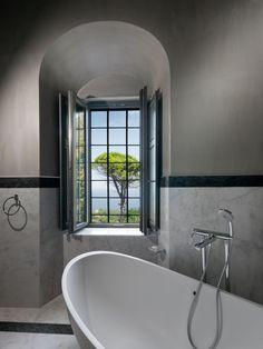 Windows _ bathroom | interior design | stone | mansion | Pelion | lighting | renovation _ visit us at: www.philippitzis.gr