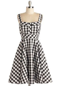 Pull Up a Cherry Dress in Black Gingham
