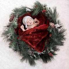 #IDEA FOR NEWBORN BABY PHOTO PORTRAIT#Baby in a wreath.#CHRISTMAS IDEA FOR NEWBORN BABY