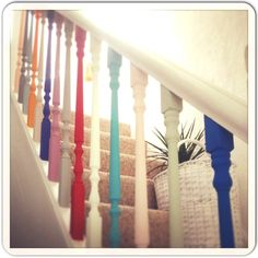 Another way to make a staircase special. Paint Color Chart, Colour Chart, Stair Spindles, Railings, Oak Trim, Painted Stairs, Painted Staircases, Stair Landing, Stairway To Heaven
