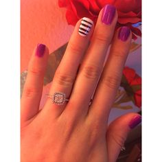 Gel nail design! Stripes and purple ❤️
