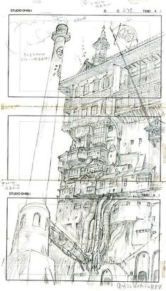 "ghibli-collector: "" Spirited Away Bathhouse, Hayao Miyazaki's Layout and the original Background "" Hayao Miyazaki, Totoro, Spirited Away Bathhouse, Layout Design, Animation Storyboard, Animation News, Ghibli Movies, Animation Background, Environment Design"