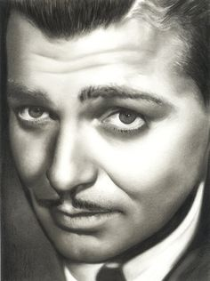 Clark Gable Portrait Original Graphite Pencil by MirrorReflections, $54.99