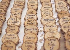 Wood Place Cards. I wouldn't do this for a wedding (too rustic), but this would be cute for a party in a cabin or nice barn, like a dinner and wine-tasting or engagement party or couples shower.