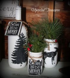 Mason jars and wine bottles made pretty! Perfect to fill with picked greenery to add to your Christmas decor! #moose #christmas https://www.facebook.com/Upcycled-Treasures-1403647943237665/
