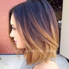Dramatic color melt on a shoulder length blunt bob