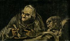 Two Old Men Eating Soup , black painting on canvas by Francisco Goya, Spanish, 1746-1828.