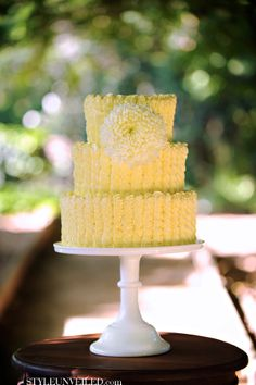 Dainty Yellow Wedding Cake
