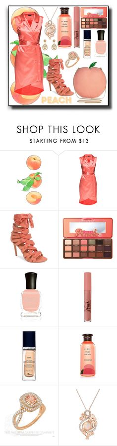 """Peachy"" by kelly-floramoon-legg on Polyvore featuring Lattori, Daya, Too Faced Cosmetics, Deborah Lippmann, Christian Dior, Innisfree, LE VIAN, GUESS and peach"