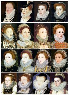 En Angleterre  1570  La collerette anglaise suit les évolutions de la fraise française, tout en gardant parfois ses spécificités décoratives : rebords brodés, voire même perlés. De plus, l'ouverture de la fraise sous le menton est parfois apparente, alors qu'elle est camouflée dans la mode française (sur l'observation des portraits).