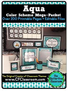 AQUA MODERN PATTERNS Classroom Color Scheme/Theme EDITABLE