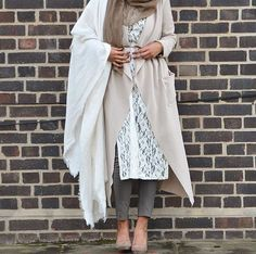 neutral abaya with lace tunic