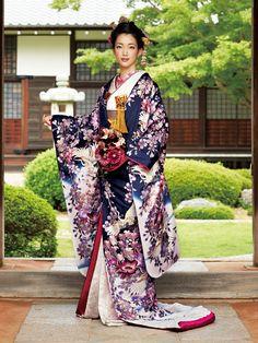 Magnificent Crane and Sakura Print Purple Uchikake