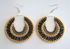 Free Beaded Brick Stitch Hoop Earrings Tutorial featured in Bead-Patterns.com Newsletter!