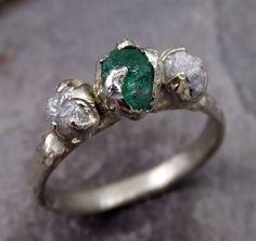 Three raw Stone Diamond Emerald Engagement Ring 14k white Gold Wedding Ring Uncut Birthstone Stacking Ring Rough Diamond Ring byAngeline
