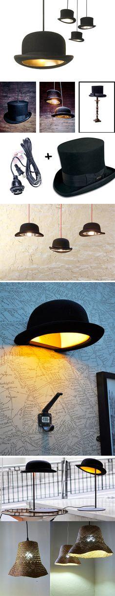 Bombette, Cilindri e altri cappelli come trasformate in lampade #reuse #diy…