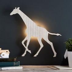 Giraffe Children's Wall Light   Lights4fun.co.uk Childrens Wall Lights, Night Light, Light Up, Giraffe Bedroom, Led, Wooden Shapes, Kids Lighting, White Lead, Safari Animals