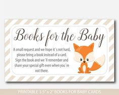 Woodland Bring a book instead of a card inserts, Woodland baby shower books for the baby cards, Fox book request, Baby shower fox inserts, BF3-14