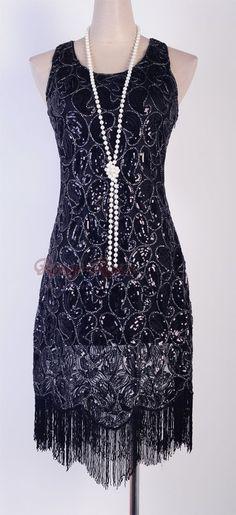 1920's Flapper Party Clubwear Gatsby Abbey Sequin & Tassel Black Dress  RR 3239 #Other #BallGown #Clubwear