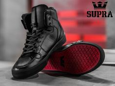 #sportswear is back... in Black. The Vaider is a stylishly designed high top upper on a vulcanized sole that supplies excellent traction and board feel. A padded collar and tongue lining provide superior comfort. A Mainstay of the Supra Compendium, The High Top Vaider is a Timeless Classic.  Visit the #OriginBoardshop #onlinestore to see more of our #skateshoes collection!  #Suprafootwear #SupraSkate #skatefootwear #skating #lifestyle #casual #footwear #OBS #Sneakers #Vaider #Skatelife