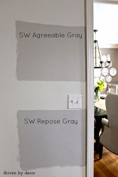 Agreeable Gray Sherwin Williams Agreeable Gray versus Repose Gray - two great gray paint colors!Sherwin Williams Agreeable Gray versus Repose Gray - two great gray paint colors! Interior Paint Colors, Paint Colors For Home, House Colors, Paint Colours, Popular Paint Colors, Light Grey Paint Colors, Grey Wall Color, Light Gray Walls, Living Room Paint Colors