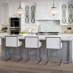 Glass accent cabinets and backsplash