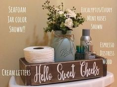 Bathroom ideas, bathroom remodel, bathroom decor and bathroom organization! Bathrooms may be beautiful too! From claw-foot tubs to shiny fixtures, they are the master bathroom that inspire me the essential. Colored Mason Jars, Painted Mason Jars, Bathroom Humor, Bathroom Signs, Bathroom Ideas, Bathroom Makeovers, Bathrooms Decor, Bathroom Box, Shower Ideas