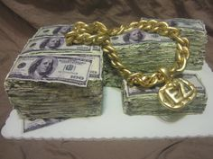 """Make Money"" cake - Money and gold chain"