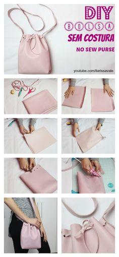 Como Fazer Bolsa Saco (Bucket Bag) Sem Costura - Diy And Crafts Diy Handbag, Diy Couture, Creation Couture, Diy Clothing, Handmade Bags, Diy Tutorial, Purse Tutorial, Bag Making, Purses And Bags