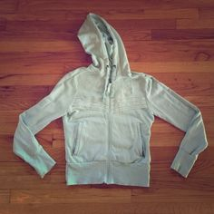 NorthFace Retro Hoodie NorthFace zip-up hoodie with retro piping on front. Color is a beautiful sea foam green with white details. Practically brand new - only been worn twice. North Face Sweaters Crew & Scoop Necks