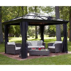This 10 X Hardtop Gazebo Tent Has A Metal Frame And Durable Polycarbonate Roof The Canopy Is Screened With Mosquito Netting