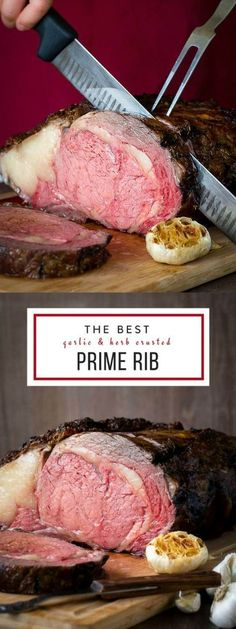 & Herb Crusted Boneless Prime Rib + Video Evenly cooked boneless prime rib with an amazing crispy crust - guaranteed! via cooked boneless prime rib with an amazing crispy crust - guaranteed! Rib Recipes, Roast Recipes, Steak Recipes, Dinner Recipes, Cooking Recipes, Game Recipes, Pumpkin Recipes, Gourmet Recipes, Dinner Ideas