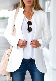 White Plain Band Collar Office Worker/Daily Spandex Outerwear - Outerwears - Tops