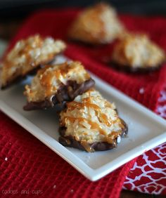 Coconut Macaroons: 1 (14 oz) can sweetened condensed milk- 3/4 cup caramel sauce- 1 c. flour- 2 (14 oz) bag coconut flakes- 1 1/2- 2 tsp sea salt- 1 c. milk chocolate- 1 c. caramel bits- 1 Tbsp water...