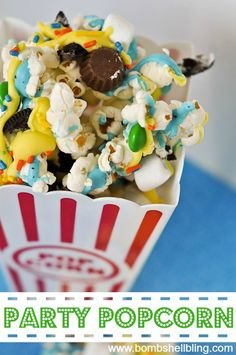 Party Popcorn: 1/2 cup popcorn kernels or 1 bag of microwave popcorn (unbuttered) vanilla almond bark (with blue and yellow food coloring) 10 ounce bag of mini marshmallows 1 bag mini Reese's peanut butter cups 1 small bag of M&M's 10 Oreo cookies sprinkles