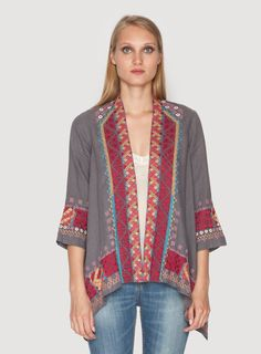 Johnny Was Clothing JWLA embroidered linen Jeanette Draped Cardigan in Voltage Grey