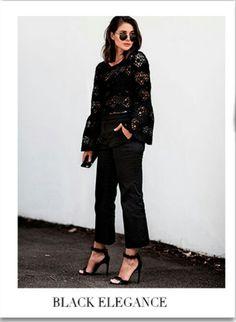 Blusa de renda vou calça e sandália, elegante num look rápido!