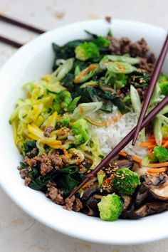 BibimBap This dish is traditionally served with either beef or pork, but tofu or seitan can be substituted.