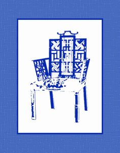 Navy Chinoiserie Chair 8x10 Giclee. $25.00, via Etsy.