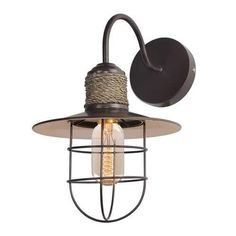 LNC Industrial Edison Vintage Style 1-light  Industrial Edison Vintage Style    Hemp Rope Brown Wall Sconce